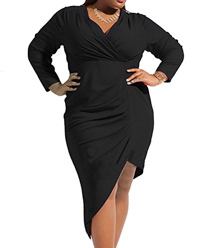 Daci Women's Plus Size Asymmetrical Draped Deep V Neck Long Sleeve Sexy Bodycon Dress Black 16W