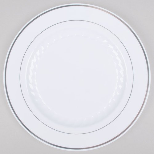 10 Inch Silver Splendor White with Silver Band Plate - 120 per case by Fineline settings