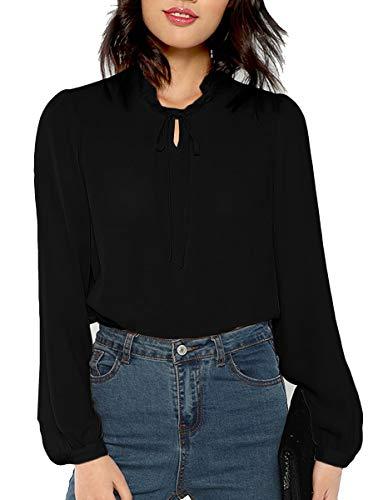ROMWE Women's Bow Tie Neck Long Sleeve Casual Office Work Chiffon Blouse Shirts Tops Black L