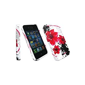 Kit Me Out CA TPU Gel Case + Screen Protector with MicroFibre Cleaning Cloth for Apple iPhone 4/4G/4S - White Oriental Flowers