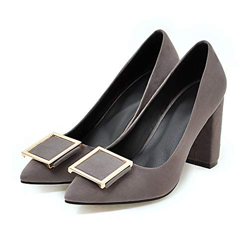- Yuchun Women Pumps Party Shoes Fashion Thick High Heels Pointed Toe Flock Ladies Shoes(Gray,10.5)