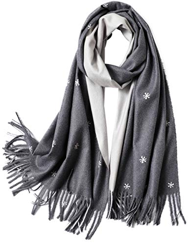 CARESEEN Womens Two Tones Floral Scarf Large Soft Pashmina Shawls Wraps Fall Winter Scarves, Dark Grey and Light Grey (Soft Floral Scarf)