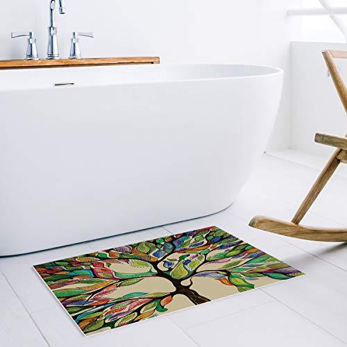 SIMIGREE Colorful Tree of Life Door Mats Indoor Kitchen Floor Bathroom Entrance Rug Mat Carpets Home Decor Absorbent Bath Doormats Rubber Non Slip 20 x 32 Inch