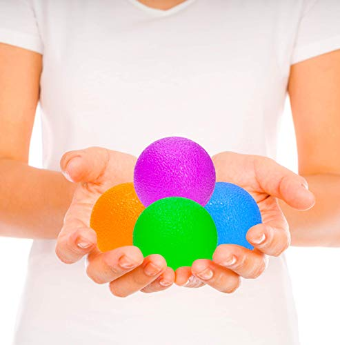 Pivit Squishie Physical Therapy Hand Exercisers Stress Relief Squeeze Balls | 4 Strengthening Squishy Grip Ball Kit for Adult & Kids | PT Muscle Egg Exercise Strength Training Arthritis Hands ()