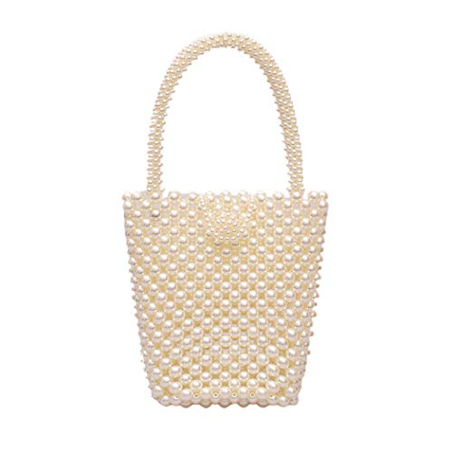 MILATA Women Pearl Bag Tote Top Handle Bag Purses Handmade Beaded Handbags for Girls