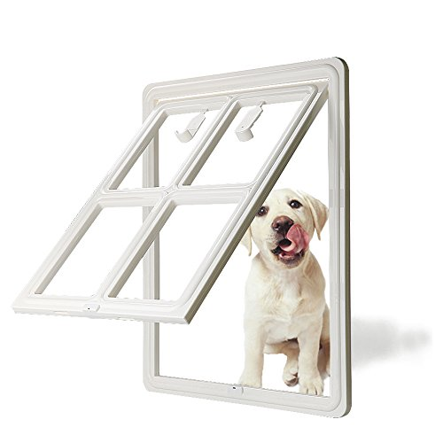 "CEESC Dog Door for Sliding Screen Door, 3rd Upgraded Version Automatic Lock Pet Door for Dogs Puppies Cats, 3 Colors 5 Options (Large White-Inner Size: 15.75""(H) x 11.81""(W) x 0.79""(D))"