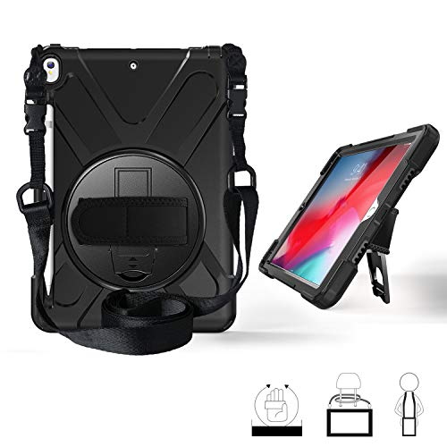 (iPad Air 3 (10.5-inch 2019) Case,iPad Pro 10.5 Case, Yoomer 360 Degree Rotatable Case with Kickstand,Hand Strap,Shoulder Strap and Stylus Holder for iPad AIR 10.5