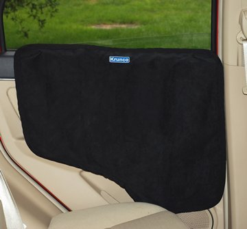Krunco Waterproof Pet Car Door Cover - Black, Two Options To Install-Insert The Tabs Or Stick The Velcros. Fit All Vehicles.