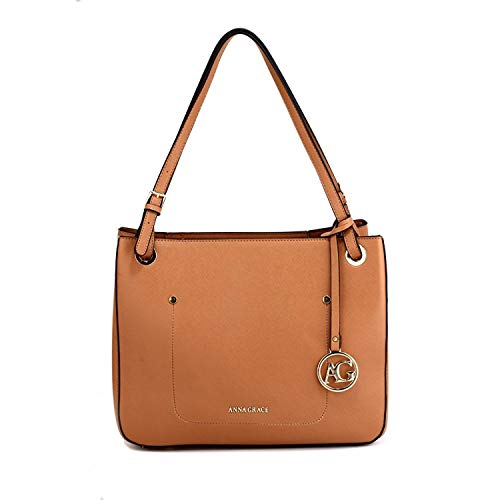 Womens Faux Leather Shoulder Bags Ladies Handbags Designer Style Tote Design 2 - Brown