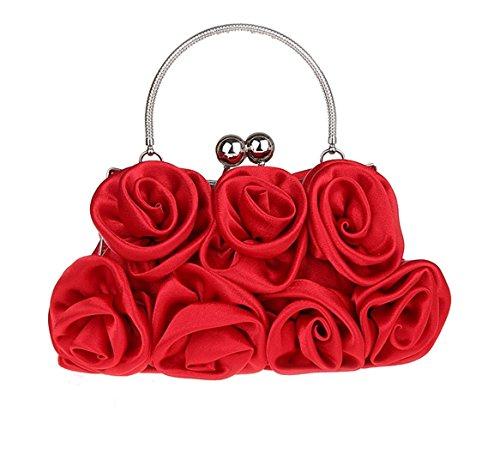 Femme Rouge Chic Cérémonie Soirée Heyjewels Sac Fleurs Elégant Décorées 1 Mariage Roses Série Pour De Pochette g1zqp