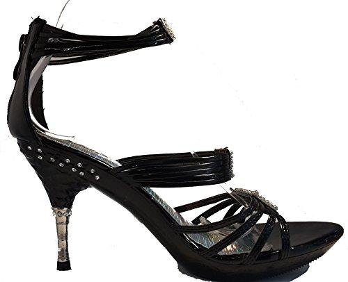 3-W-HohenlimburgExtravagante Stiletto Pumps High Heels Peep Toe Sandalen in Schwarz Oder Rot mit Schmuck, Damenschuhe, San001, Schuh für Damen, ein Echter Hingucker-schuh. - Zapatos con tacón Mujer Schwarz.