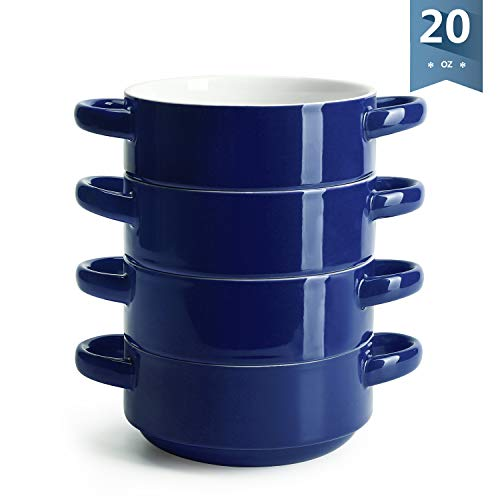 Sweese 108.103 Porcelain Bowls with Handles - 20 Ounce for Soup, Cereal, Stew, Chill, Set of 4, Navy