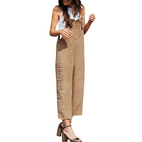 Aniywn Women's Baggy Plus Size Cotton Linen Jumpsuits Overalls Wide Leg Loose Pants Casual Rompers Khaki