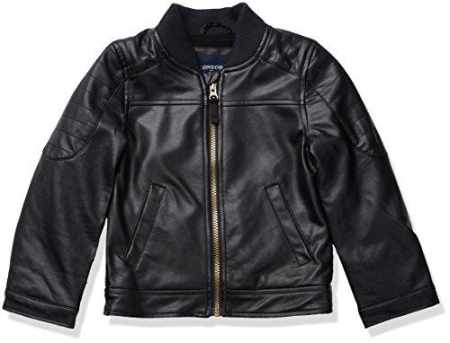 London Fog Little Boys' Faux Leather Jacket, Black, 5/6 -