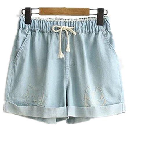 Culotte Light Haute Grande Femme Oudan blue Taille Rtro Corde Shorts Jeans Taille avec Chic Vintage wfxOpIOq