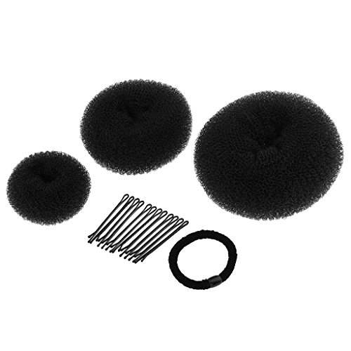 Price comparison product image MagiDeal Magic Women Donut Hair Ring Bun Shaper Hairpins Hair Styler Maker Tools Set - Black