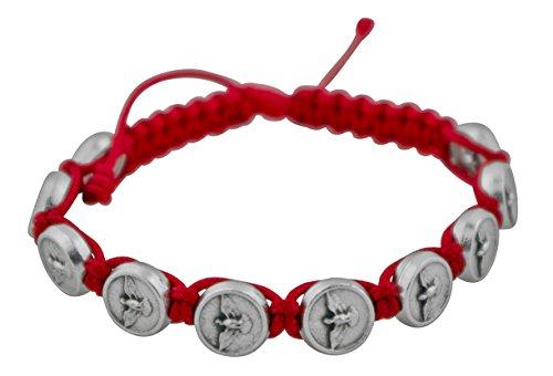 Venerare Catholic Adjustable Cord Bracelet with Woven Medals (Holy Spirit)