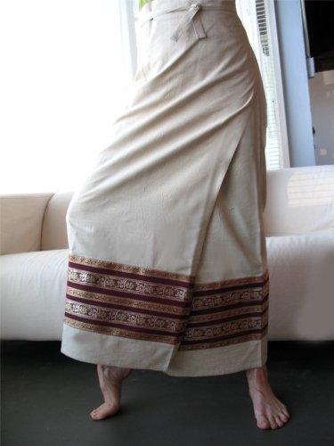 Natural Wrap Around Skirt with Ribbon Sari Border