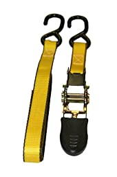 Everest Premium Ratchet Tie Down – 4 PK  – 1 IN – 10 FT – 300 LBS Working Load – 900 LBS Break Strength – Cambuckle Alternative – Cargo Straps Perfect for Moving Appliances, Lawn Equipment and Motorcycles