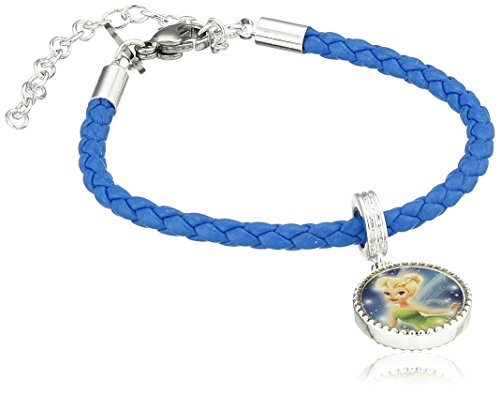 Disney Girls' Silver Plated Brass Tinkerbell Leather Bead Charm Bracelet
