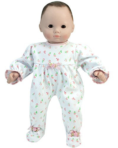 15 Inch Baby Doll Pajamas by Sophia's, Floral Print Doll Sleeper Perfect for Bedtime Fits American Girl Bitty Baby 15 Inch Baby Doll & More! 15 Inch Floral Print Sleeper | Gift Bag Included
