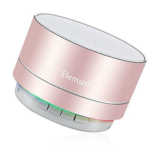 Elemusi Bluetooth Speaker,Portable Stereo Outdoor Speaker,Mini Wireless speaker with HD Audio and Enhanced Bass, Built-in-Mic Speakerphone, FM Radio and TF Card Play Music (Rose Gold)