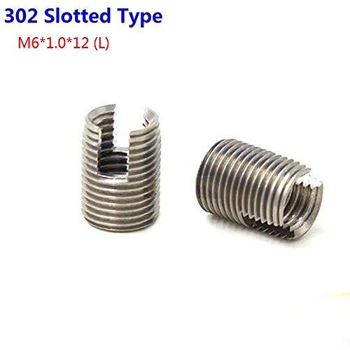 Ochoos 50pcs/Lot Stainless Steel M6X1.0 Self Tapping Thread Inserts 302 Slotted Type Insert Bushing Screws M61.012 (L) by Ochoos