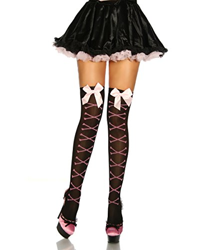 Heels-Perfect - Medias de liga - para mujer negro / rosa