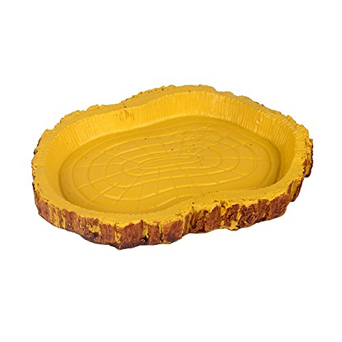 Senzeal Middle Oval Reptile Food Dish Resin Water Dish Tortoise Chameleon Lizard Food Water Bowl Yellow