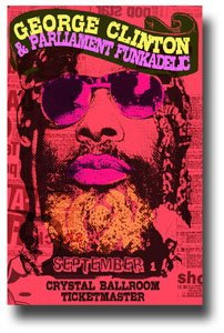 George Clinton Poster Concert Promo w/ Parliament Funkadelic on the Computer Games Album Release