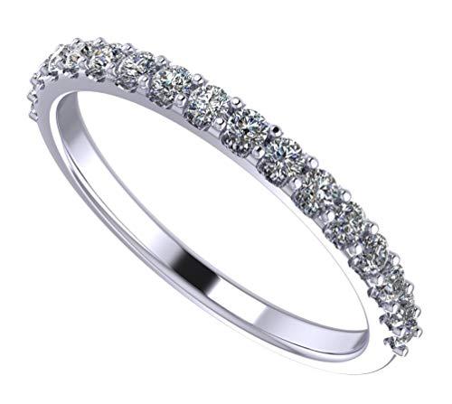 NaNa Sterling Silver & Swarovski Zirconia Wedding Band-Rhodium Plated-Size 10 ()