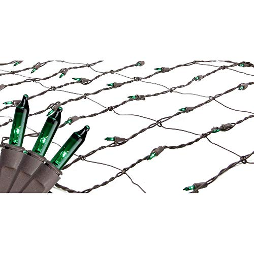 (2' x 8' Green Mini Tree Trunk Wrap Christmas Net Lights - Brown Wire)