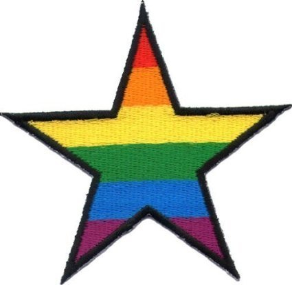 (Star Gay pride lesbian rainbow flag retro love LGBT Appliques Hat Cap Polo Backpack Clothing Jacket Shirt DIY Embroidered Iron On / Sew On Patch)