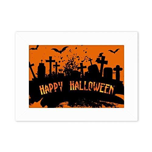 Halloween Horror Nights 4 Opening (DIYthinker Horror Night Cemetery Halloween Desktop Photo Frame White Picture Art Painting 5x7)