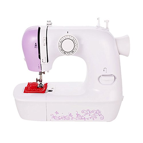 Sewing Machine with Minding/Reverse Sewing Function Double Thread - Mending Machine for Children Present - Portable Crafting Mending Machine with 12 Built-In Stitch Patterns[US STOCK] (White Pink) - Function Machine