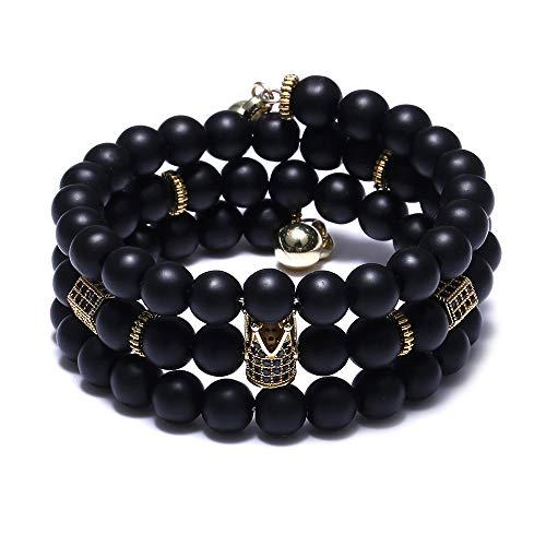 FUTTMI 8mm Multi-Layer Crown King Charm Bracelet for Men Women Black Matte Onyx Natural Stone Beads Couple Jewelr