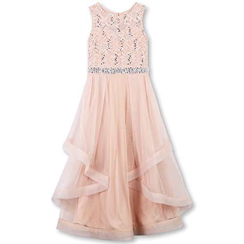 Speechless Big Girls' Formal Dance Or Party Dress with Wide Ribbon Hem, Blush, 12