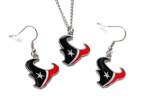 NFL Houston Texans Sports Team Logo Women Girls Fashion Wear Necklace And Dangle Earring Charm Set