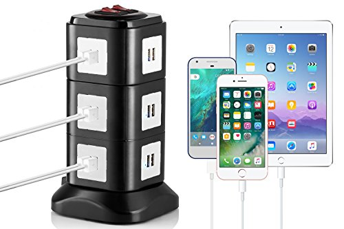 Electronic Charging Station by Yubi Power - 24 Port Universal USB - Tower Device Charging Station for Apple IPhone, Android Devices, & other USB Compatible Devices. Magnetic Base& Auto-adjust Charging