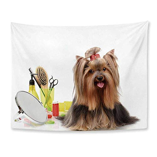 Yorkie Soft Tapestry,Yorkshire Terrier with Stylish Hairdressing Equipment Mirror Scissors Decorative for Living Room Bedroom,78
