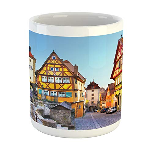 Ambesonne German Mug, Rothenburg ob der Tauber Bavaria Germany Famous Street with Colorful Classic Houses, Ceramic Coffee Mug Cup for Water Tea Drinks, 11 oz, Taupe Red
