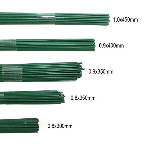 100g Blumendraht grün lackiert Steckdraht Basteldraht Bindedraht alle Größen, Ausf:1.0 x 450mm