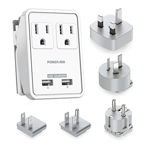 [UL Listed] Poweradd Travel Power Adapter Kits - Dual 2.4A USB Ports + 2 Outlets Wall Charger with Worldwide Wall Plugs for UK, US, AU, Europe & Asia, Gift Pouch Included