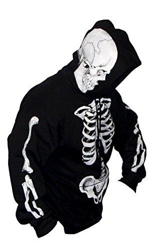 SCORN - THE ORIGINAL SCORN™ SKELETON - Mens Pullover Hoodie, L, Black (Skeleton Hoodies)