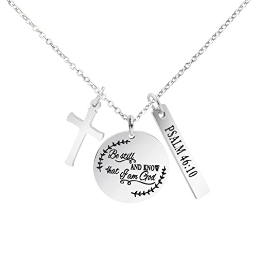 MEMGIFT Religious Bible Verse Necklace Stainless Steel Round Pendant Christian Jewelry Inspirational Scripture Engraved Personalized Birthday Gifts for - Charm Sided Engraved Double