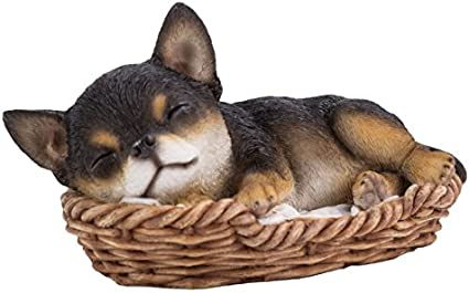 """Pacific Giftware Pug Puppy in Wicker Basket Pet Pals Dog Figurine 6.5/""""L"""