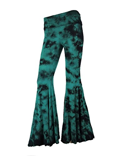 Sugar Rock Women Paisley Palazzo Hippie Pants Fold-Over Waist Bell Bottom Leg,Green Black,Medium