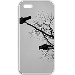 Apple iPhone 5 5S Cases Customized Gifts For Animals animals crows on a dry tree 16798 White