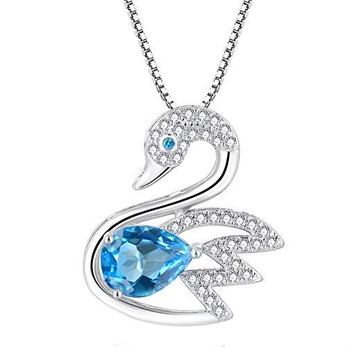 - QTRESOR ❤️ Gifts for Women ❤️ Genuine Natural Blue Topaz Birthstone Gemstone Simple Fashion Design Elegant Swan Pendant Necklace 925 Sterling Silver for Her Anniversaries, Birthdays