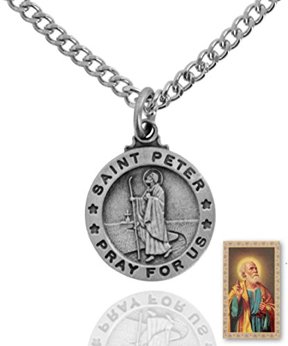 Sterling Faith 1 x Pewter Saint Peter Round Medal + 24 Inch Endless Chain + Laminated Prayer Card